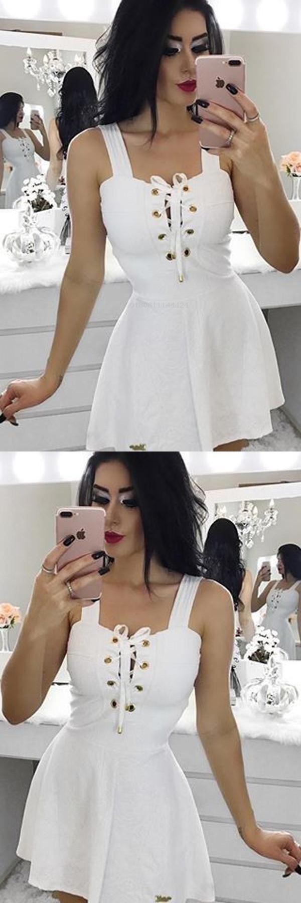 Fancy short white aline in short homecoming dresses