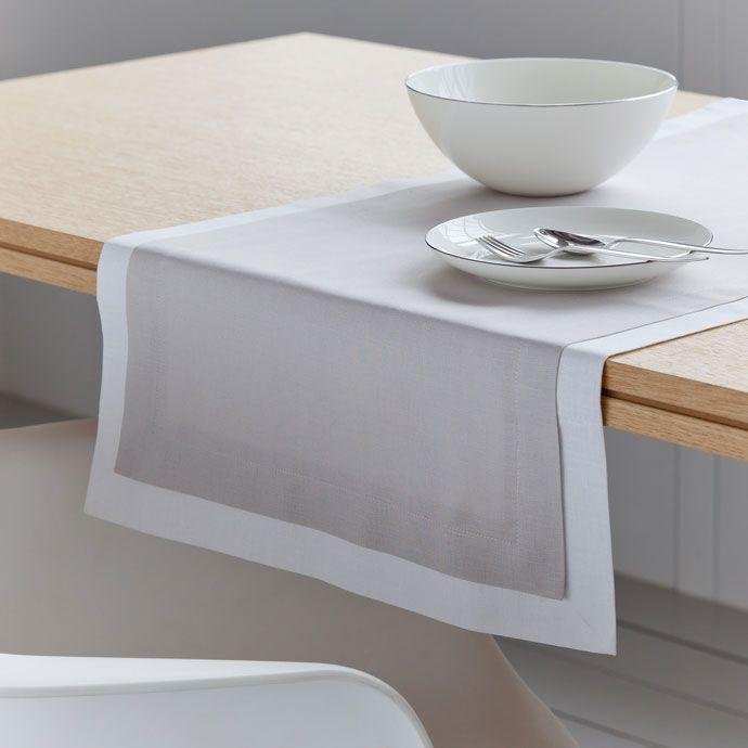Camino de mesa en lino doble capa color gris Zara Home