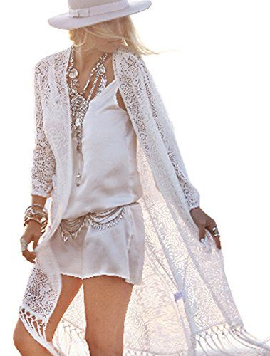 Bikini Coverup Sundress with Tassels White Lace Long Dress Kimono Cardigan Tops Medium ** Want to know more, click on the image.