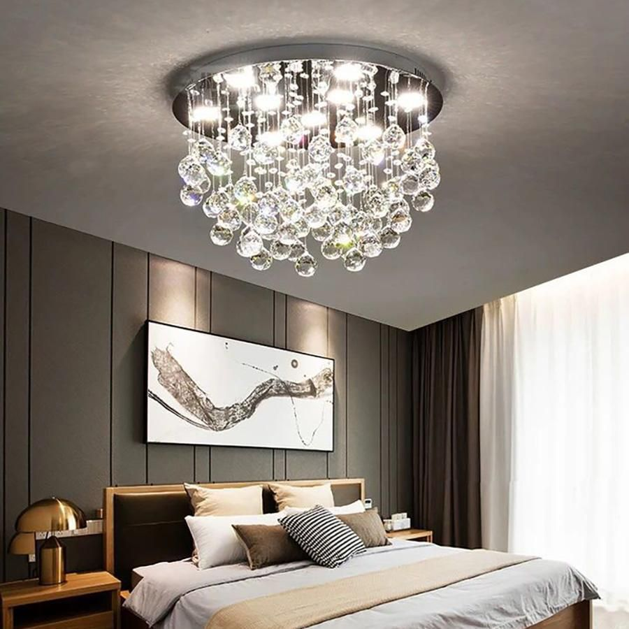 Modern Flush Mount Crystal Chandelier Fruit Shaped Ceiling Light Bedroom Ceiling Light Ceiling Lamps Living Room Crystal Ceiling Light