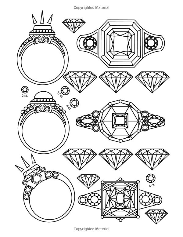 The Best Jewelry Adult Coloring book: 25 Pages of Jewels ...