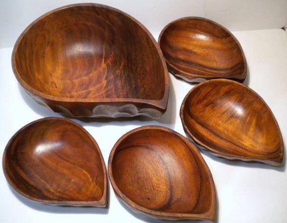 Vintage 7 Piece Wood Salad Bowl Set Snack by GreenerWorldVintage, $18.00