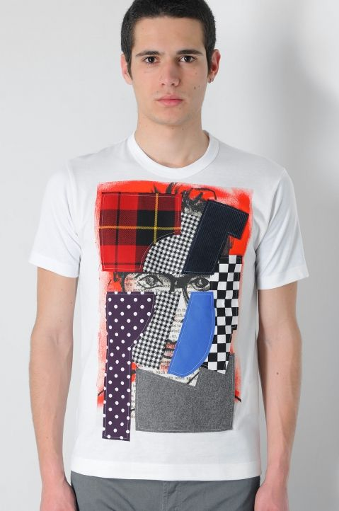 Patchwork White Paint T-Shirt