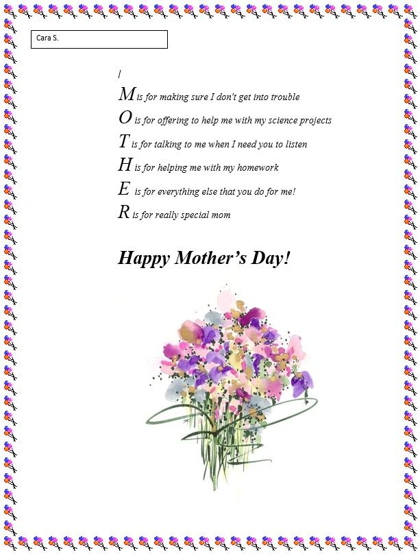 Mothers Day Poem Example Mothers Day Caligraphy Fathers