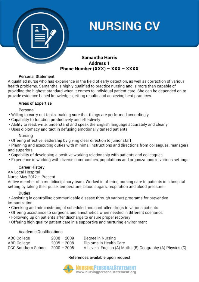 pin by nursing personal statement samples on nursing cv