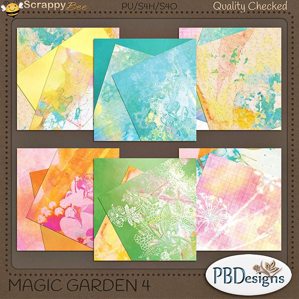 "Magic+Garden+4:+Stacked+Papers+{PU}+[PBD-MG4]+-+$1.30+:+Scrappy+Bee  Contains 6 stacked papers that coordinate with ""Magic Garden"" kit."