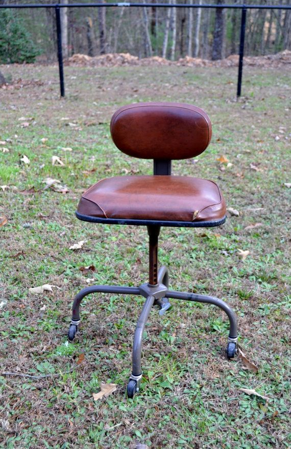 SALE Vintage Desk Chair Metal Cramer Brown Vinyl By PanchosPorch