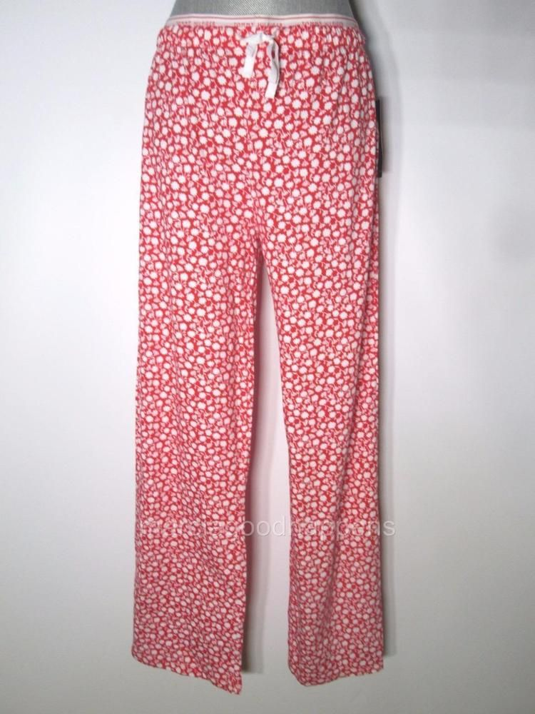 Tommy Hilfiger Womens Pajama Pants Red Hibiscus Field Flowers Large Knit #TommyHilfiger #LoungePantsSleepShorts #Everyday