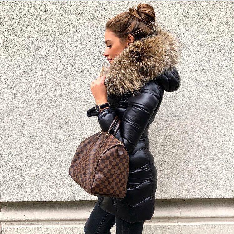 Puffer Coat with Fur Hood