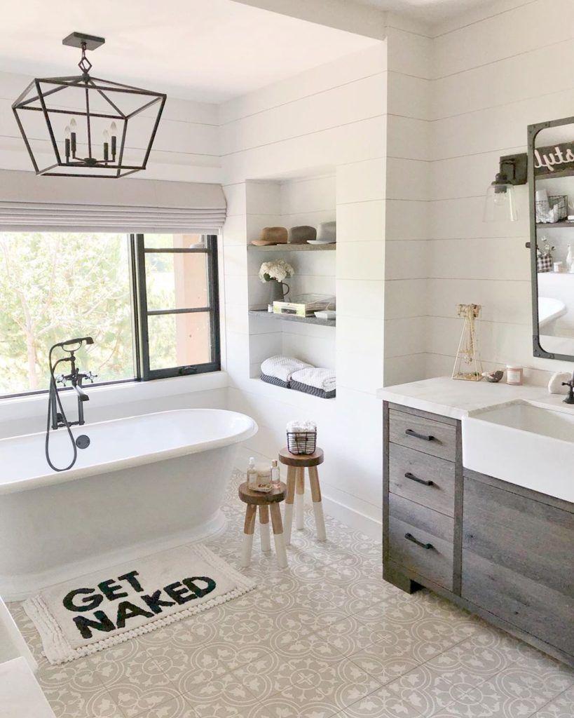Best Bathroom Rugs Modern Farmhouse Bathroom Farmhouse Master Bathroom Gorgeous Bathroom [ 1024 x 819 Pixel ]