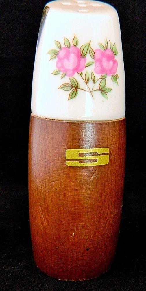 """Mid Century Modern Nevco Salt & Pepper Shakers Moss Rose Porcelain & Wood 4"""""""