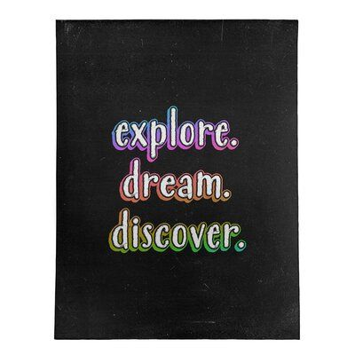 East Urban Home Explore Dream Discover Quote Chalkboard Style Poly Chenille Rug Rug Size: Rectangle 8' x 10'