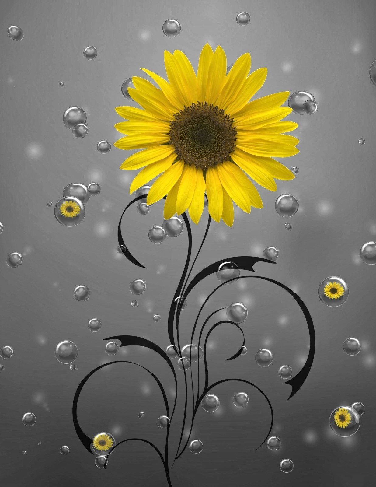 Sunflower Bubbles Bathroom Yellow Gray Home Decor Wall Art Matted ...