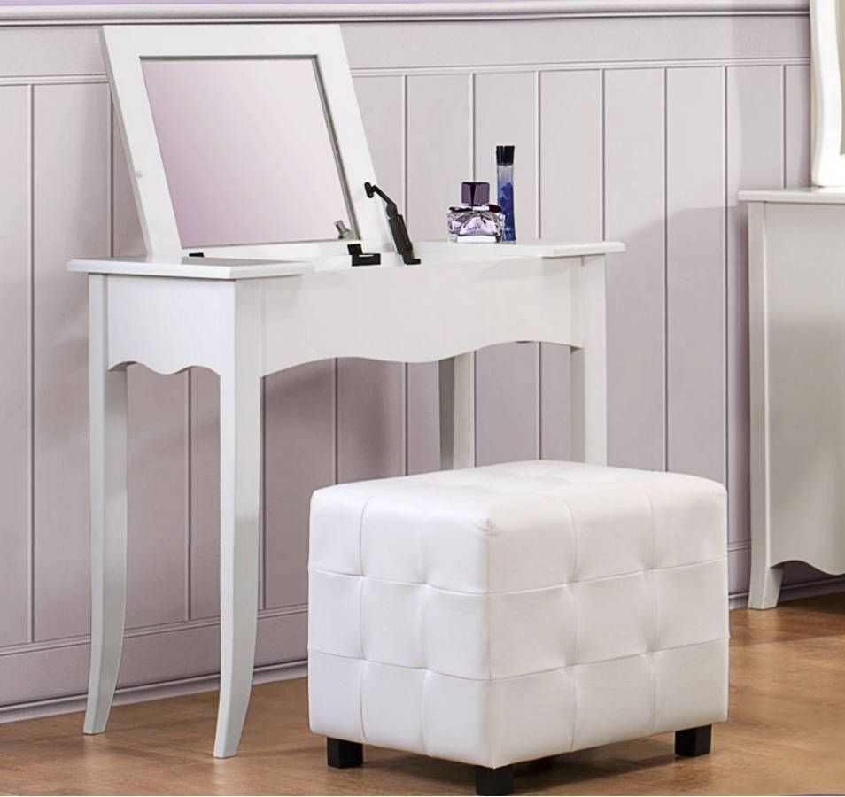 Sparkle youth white vinyl wood glass vanity desk wlift top mirror