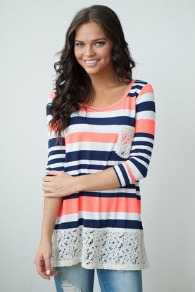 lace trim striped tunic