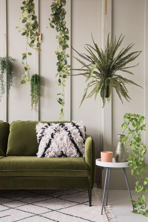 49+ Ideas living room green olive velvet sofa | Living ...