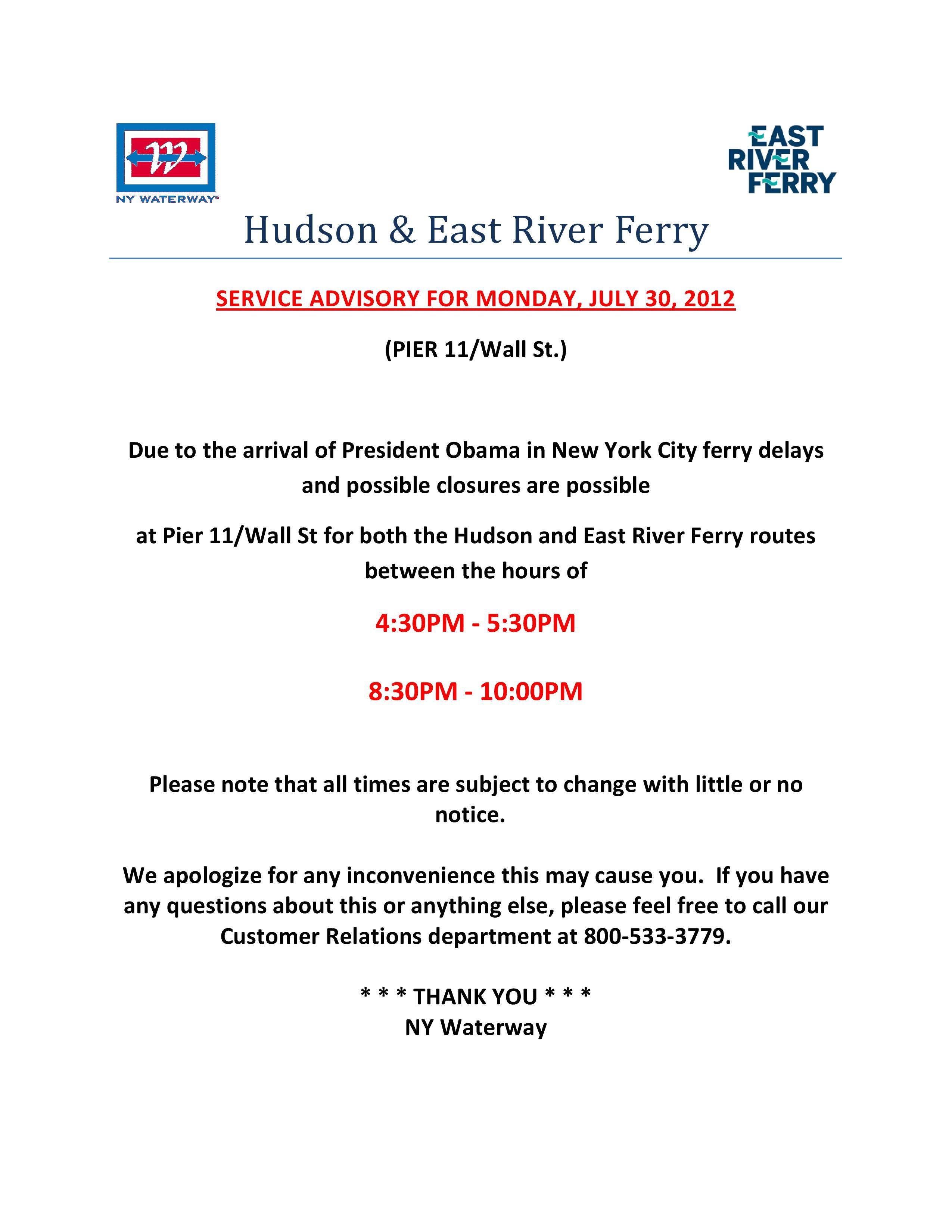 Pier 11 Presidential Security Advisory NYC | NY Waterway