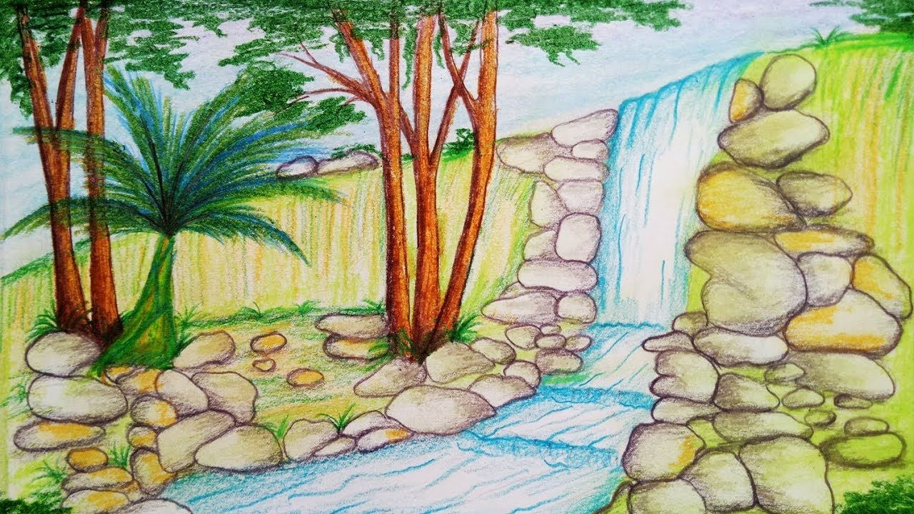 Image result for the rainforest easy to draw waterfall