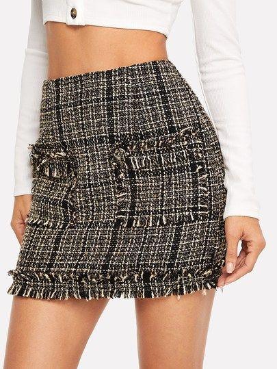 8af489b9d Pocket Front Plaid Tweed Skirt Valentine's Day,Valentines day,holiday gifts  #valentines #valentinesday #holidaygifts
