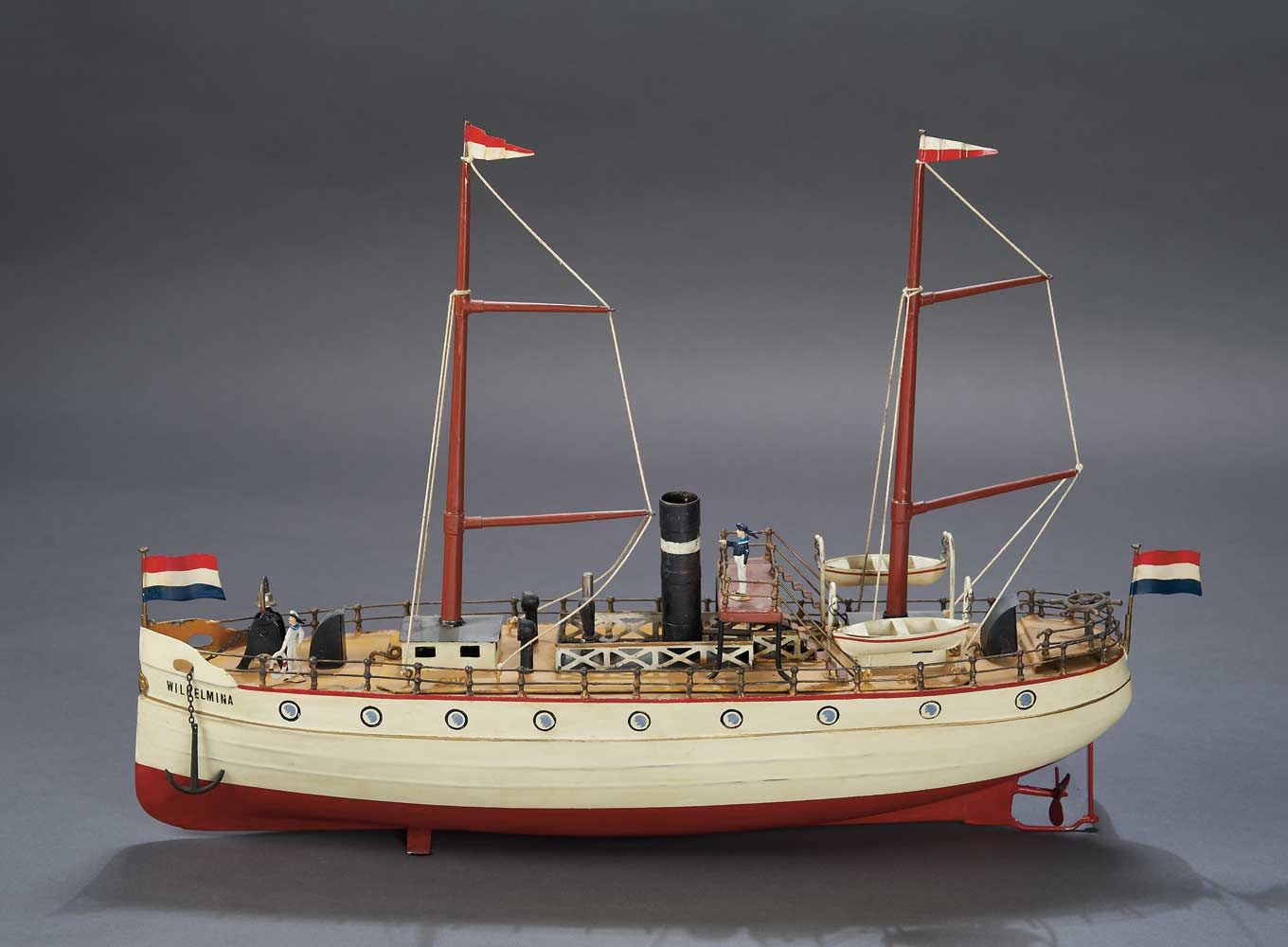 """Antique 20"""" German painted tin steamship with wonderful details, circa 1912."""