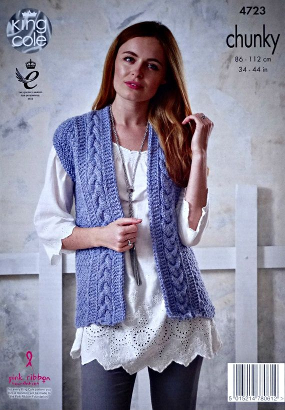 9f8754fa208181 Womens Knitting Pattern K4723 Ladies Sleeveless Cable Waistcoat Knitting  Pattern Chunky (Bulky) King Cole