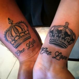 King And Queen Crowns Together Tattoos