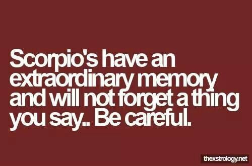 Scorpio never forgets           | All Scorpio, all the time