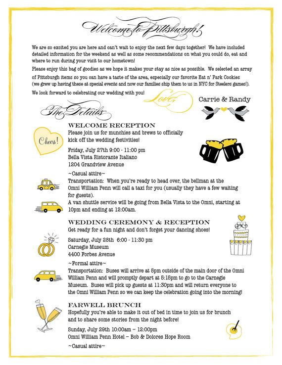 Pittsburgh Wedding Itinerary \ Welcome Letter CW Designs - wedding schedule template