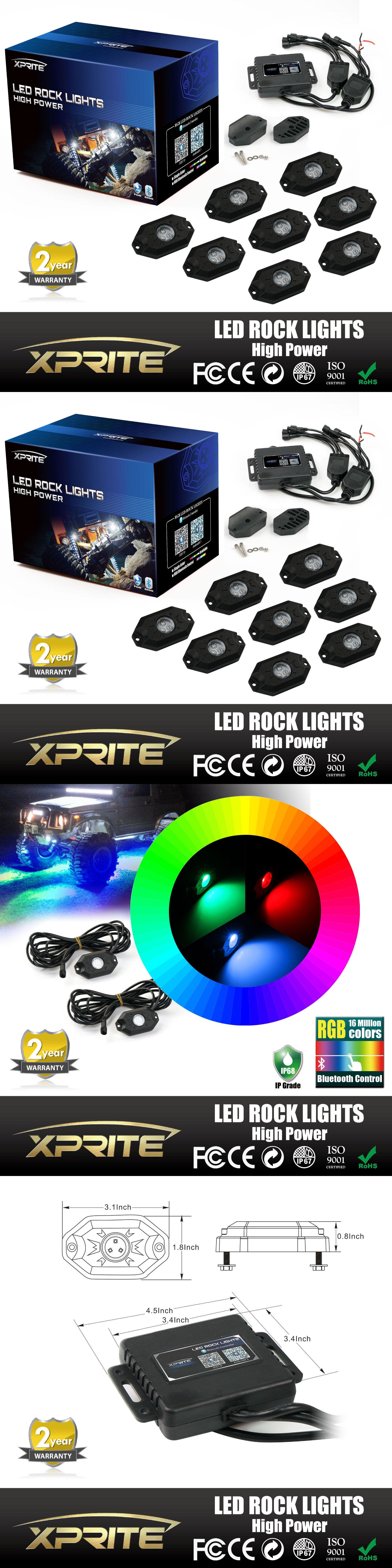 Car Lighting Xprite 8Pc Rgb Led Multi Color froad Rock Lights