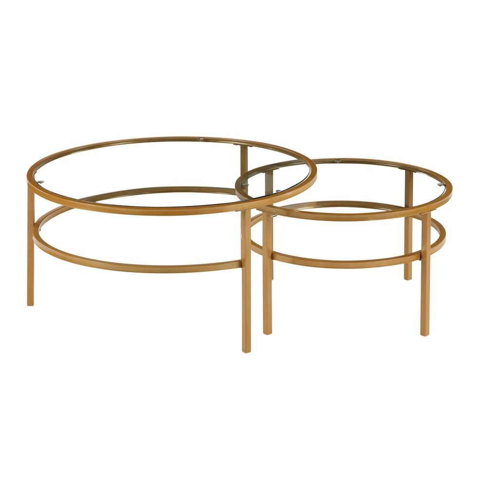 Boyel Living Elegant Nesting Round 2 Piece Coffee Table Set Glass Table With Metal Base Gold Bh Wf192556aag The Home Depot Coffee Table Setting Round Glass Coffee Table Coffee Table [ 1000 x 1000 Pixel ]