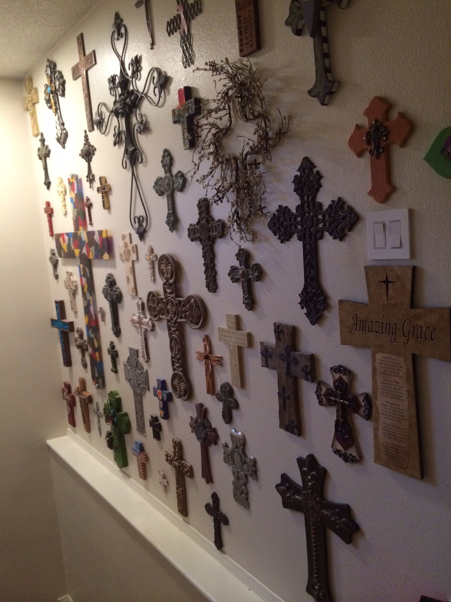 Crosses i want a wall like this in our next home god for Cross wall decor ideas