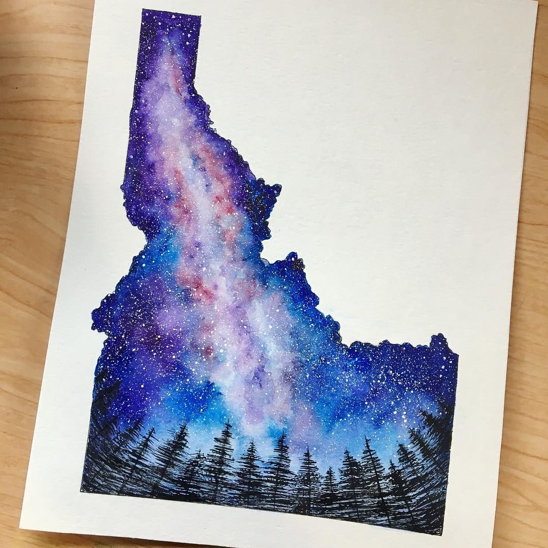 Idaho Night Sky Painting Space Nebula