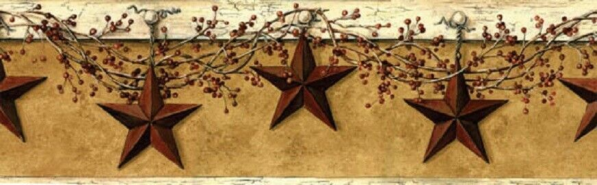 Primitive BARN STARS BERRY VINE WALLPAPER BORDER Country