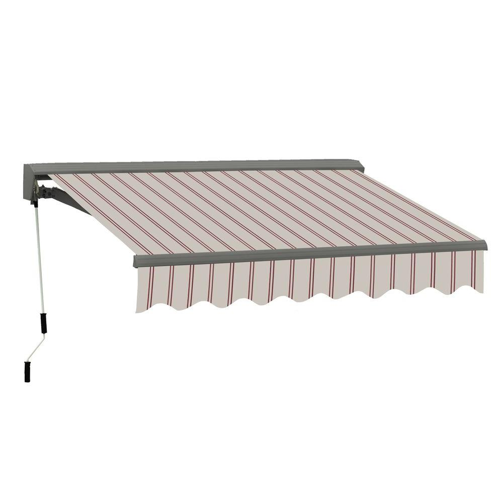 Advaning 16 Ft Classic C Series Semi Cassette Electric W Remote Retractable Patio Awning 118 In Projection Beige Red Stripes Ea1610 A332h The Home Depot Patio Awning Stylish Patio Outdoor Living Patio