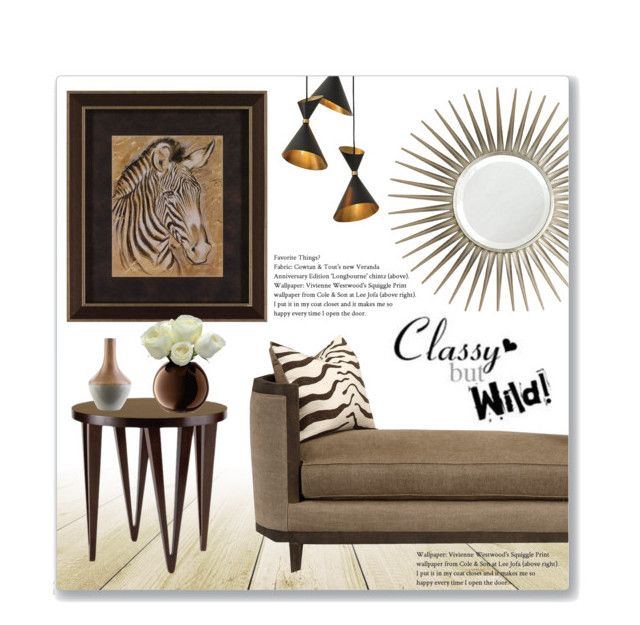 """""""Classy But Wild"""" by leanne-mcclean ❤ liked on Polyvore featuring interior, interiors, interior design, home, home decor, interior decorating, Global Views, Mirror Image Home, WALL and Brownstone"""