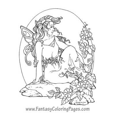 fantasy realistic fairy coloring pages - photo#44