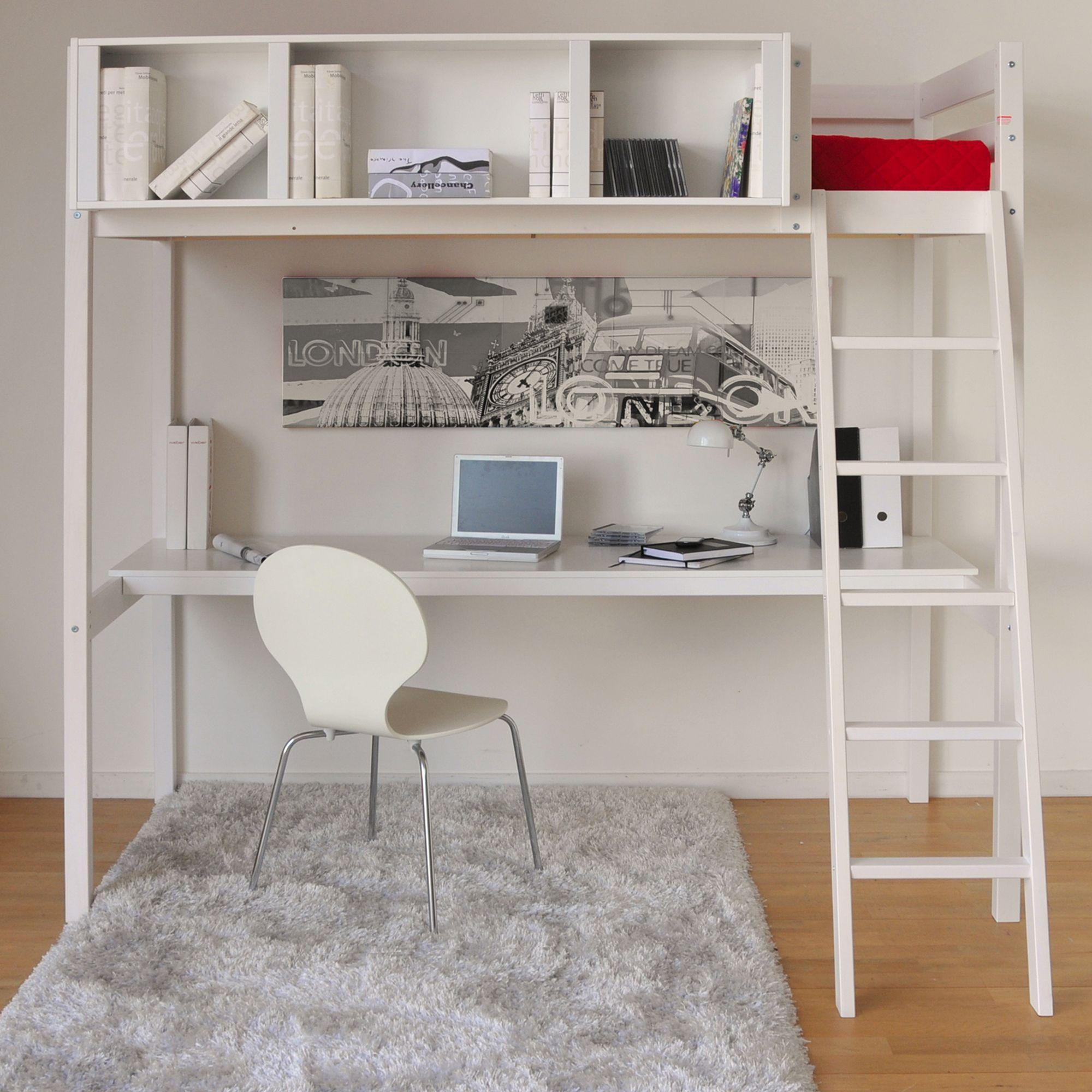 Lit Mezzanine 90x200cm Avec Bureau Blanc Lou Mezzanines Et Lits Superposes Les Lits Chambre Par Piece Decoration My Furniture Creative Bedroom Furniture