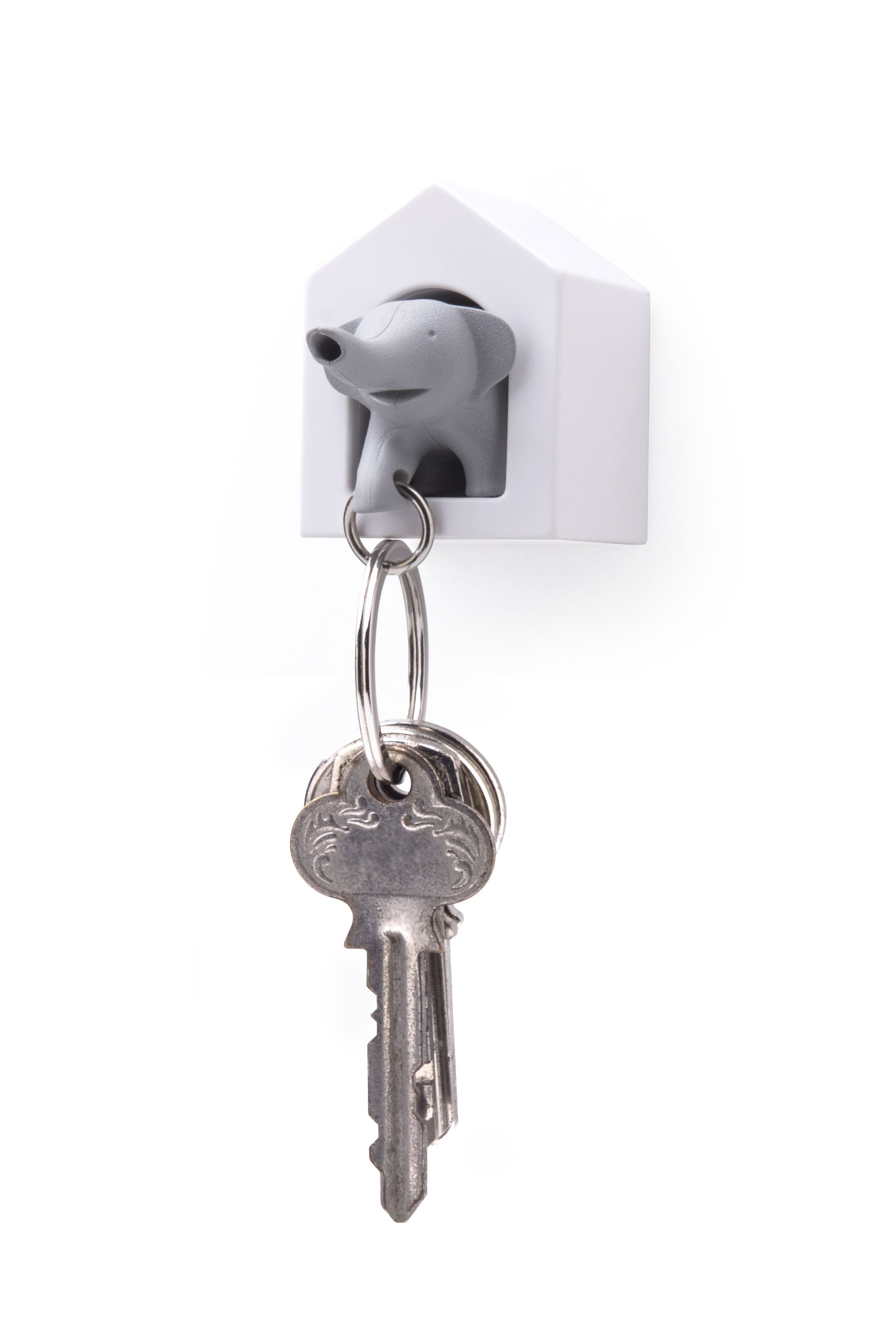 He will guard your keys everywhere and he will never let go. He also functions as a whistle in case of emergencies.