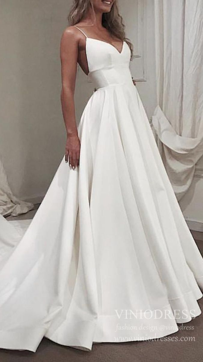 Photo of Spaghetti Strap V Neck Simple Wedding Dresses with Long Train VW1393