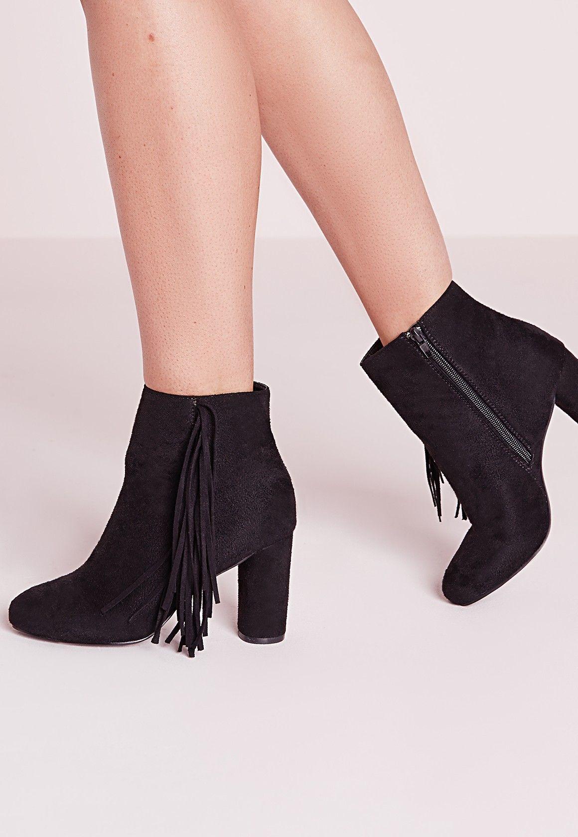Missguided - Tassel Side Heeled Ankle Boots Black