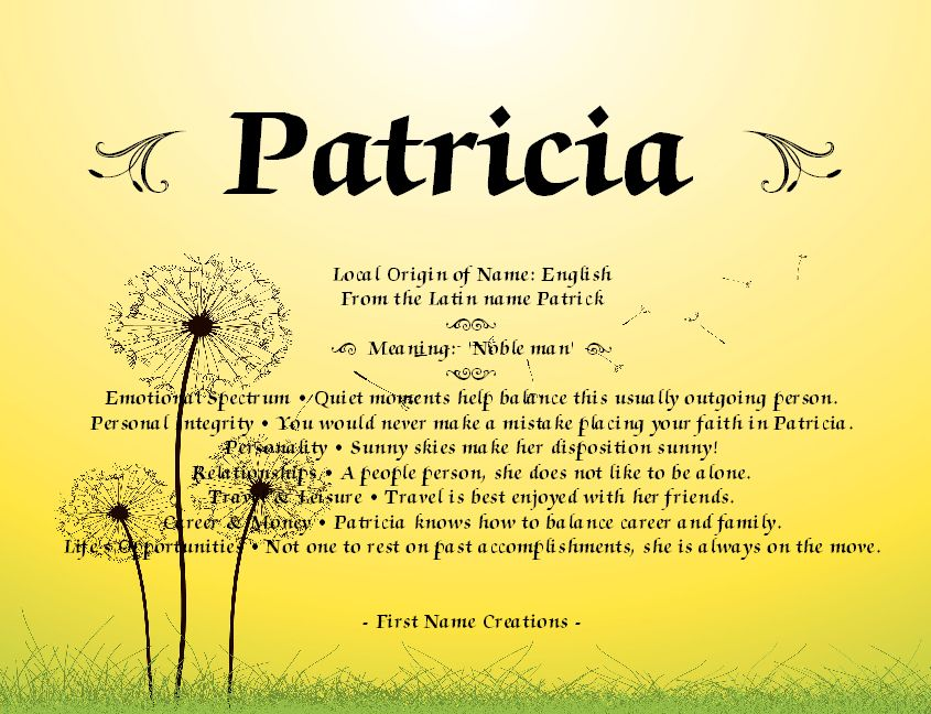 Patricia Name Meaning - First Name Creations | Random