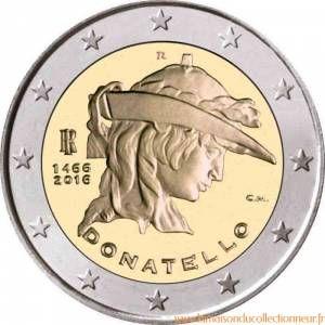 italie 2 euro comm morative 2016 donatello pinterest numismatique piece de monnaie et. Black Bedroom Furniture Sets. Home Design Ideas