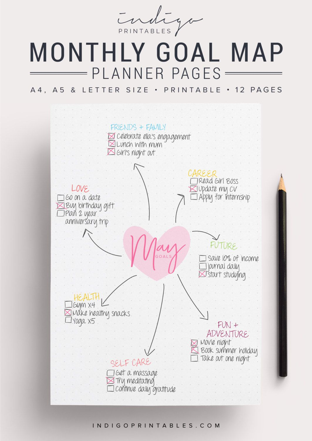 Blank goal planner pack 12 pages printable created by blank goal planner pack 12 pages printable created by indigoprintables your goal planner will help you map out your goals for the year ahead and keep malvernweather Image collections