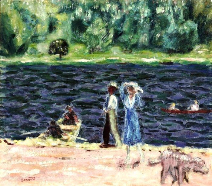 Pierre Bonnard - Bord de rivière, deux femmes et un chien, c. 1920. #arte