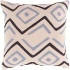 Boadicea Light Gray Graphic Polyester 18 in. x 18 in. Throw Pillow