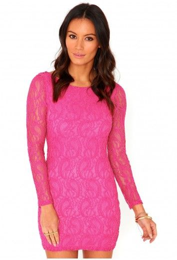 Engla Lace Bodycon Mini Dress In Hot Pink