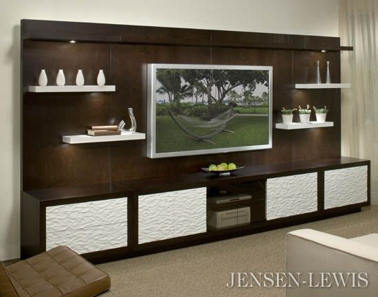 Wall Unit love how clean this look is not too sure about the white doors
