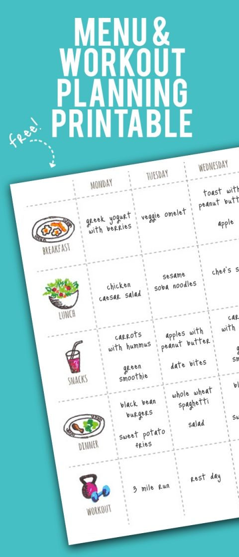 Menu And Workout Planner SWEAT Fitness Fitness Planner Healthy