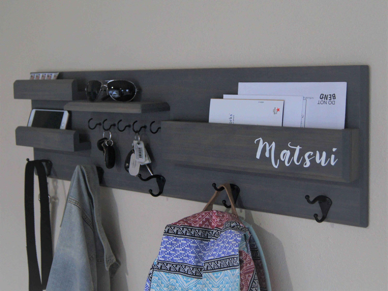 Entryway Organizer Coat Rack Floating Shelf Wall Mount Home Decor