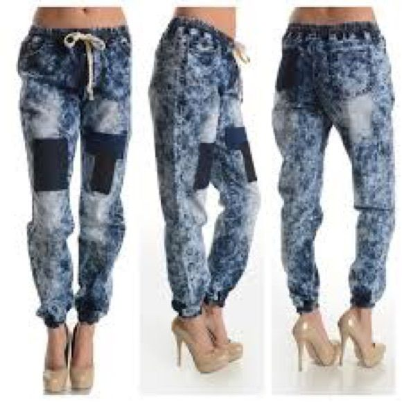 Denim joggers These cute and comfy plus size patch denim joggers are . NWT. RUNS A SIZE SMALLER. 80% cotton 18% polyester 2% spandex. ‼️‼️ LAST PAIR ‼️‼️ MAKE ME AN OFFER Sj style Pants Track Pants & Joggers